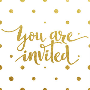 You are invited ?? gold glittering lettering design with polka dots pattern on white background